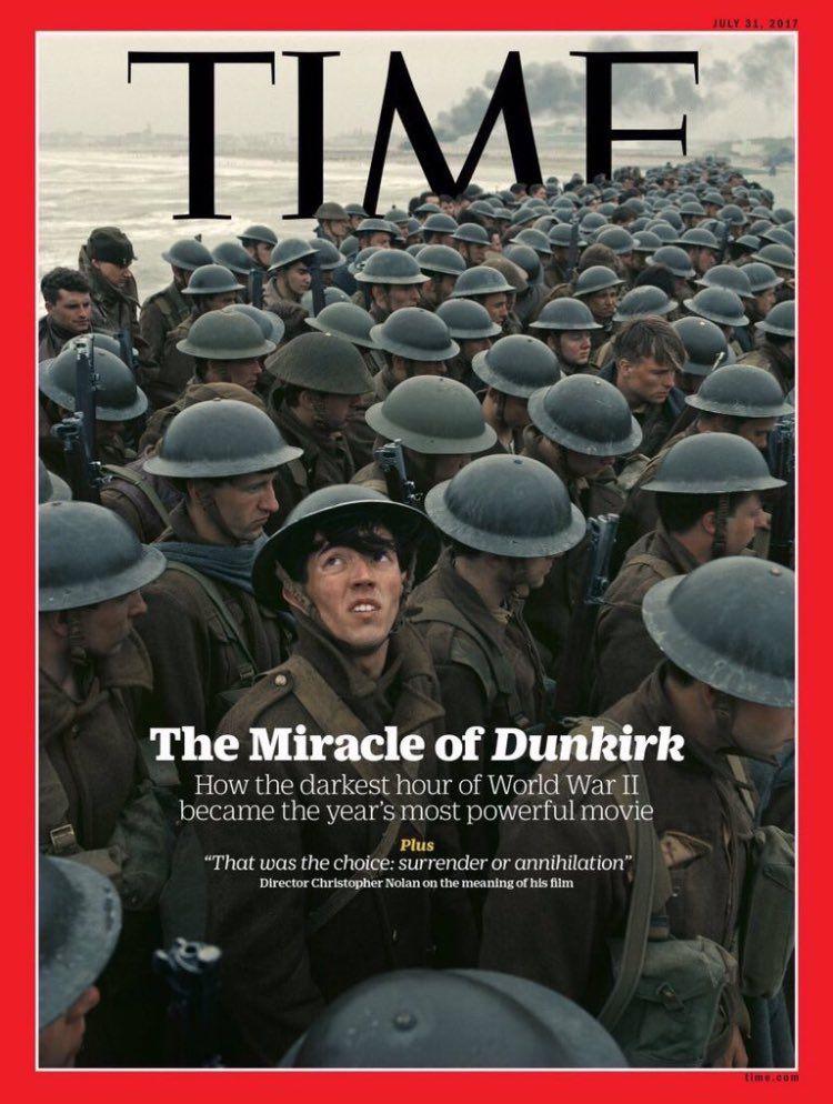 Couverture du magazine Time avec à la Une Mathias Novais Luque figurant du film de Christopher Nolan, Dunkerque